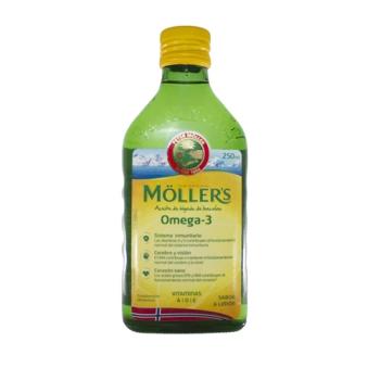 Mollers Aceite de Hígado de Bacalao Omega3 250ml, Sabor Limón.